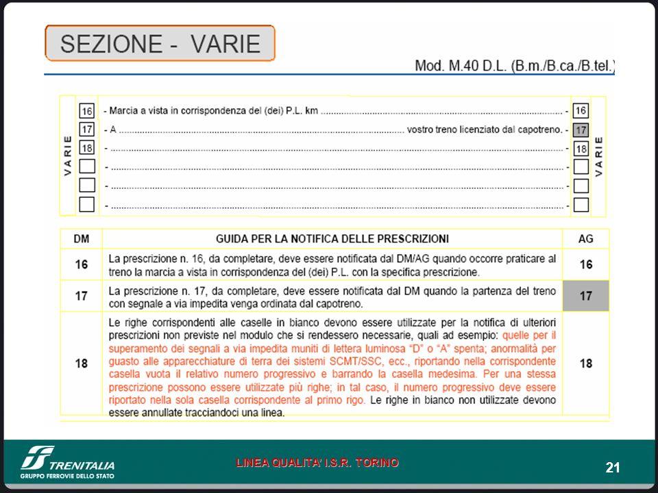 21 LINEA QUALITA I.S.R. TORINO