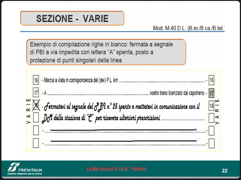 22 LINEA QUALITA I.S.R. TORINO