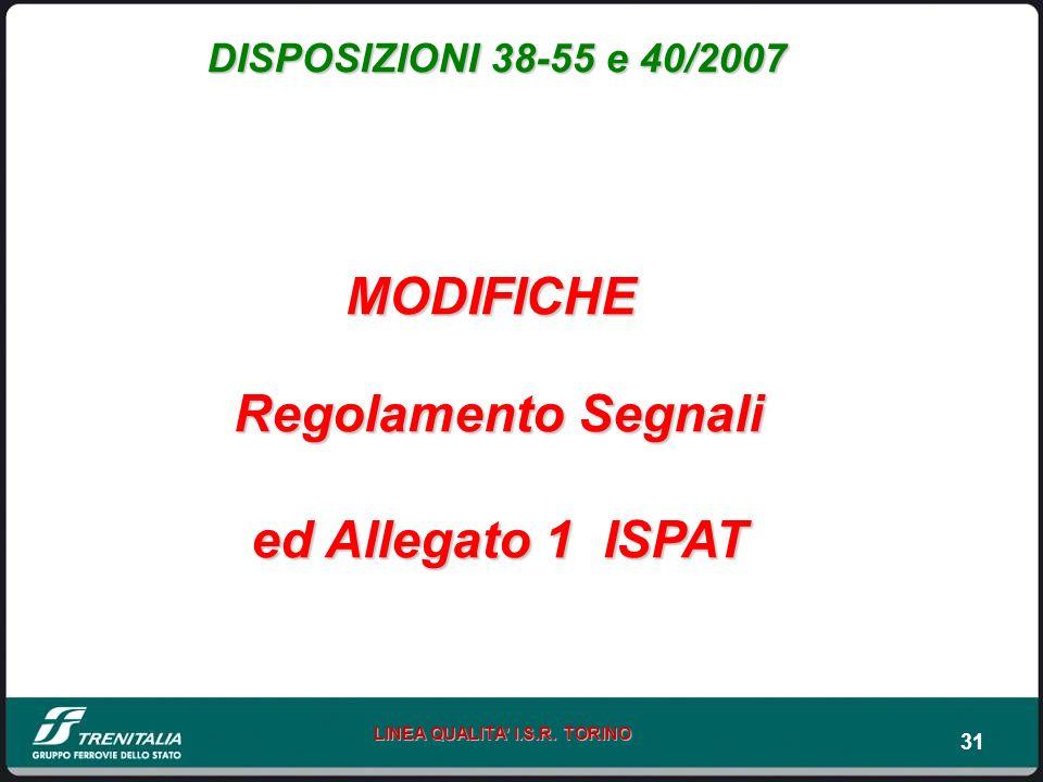 31 LINEA QUALITA I.S.R. TORINO DISPOSIZIONI 38-55 e 40/2007 MODIFICHE Regolamento Segnali ed Allegato 1 ISPAT