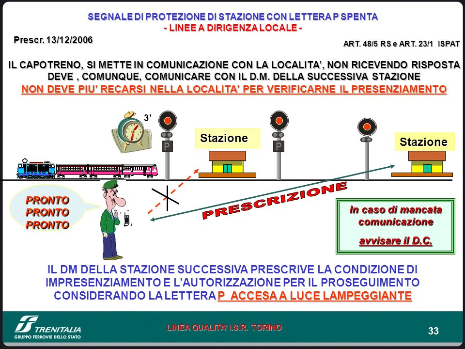 33 LINEA QUALITA I.S.R. TORINO PRONTO PRONTO PRONTO Stazione Stazione IL CAPOTRENO, SI METTE IN COMUNICAZIONE CON LA LOCALITA, NON RICEVENDO RISPOSTA