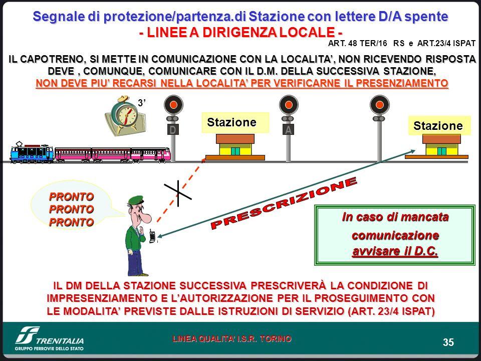 35 LINEA QUALITA I.S.R. TORINO Segnale di protezione/partenza.di Stazione con lettere D/A spente - LINEE A DIRIGENZA LOCALE - PRONTO PRONTO PRONTO IL