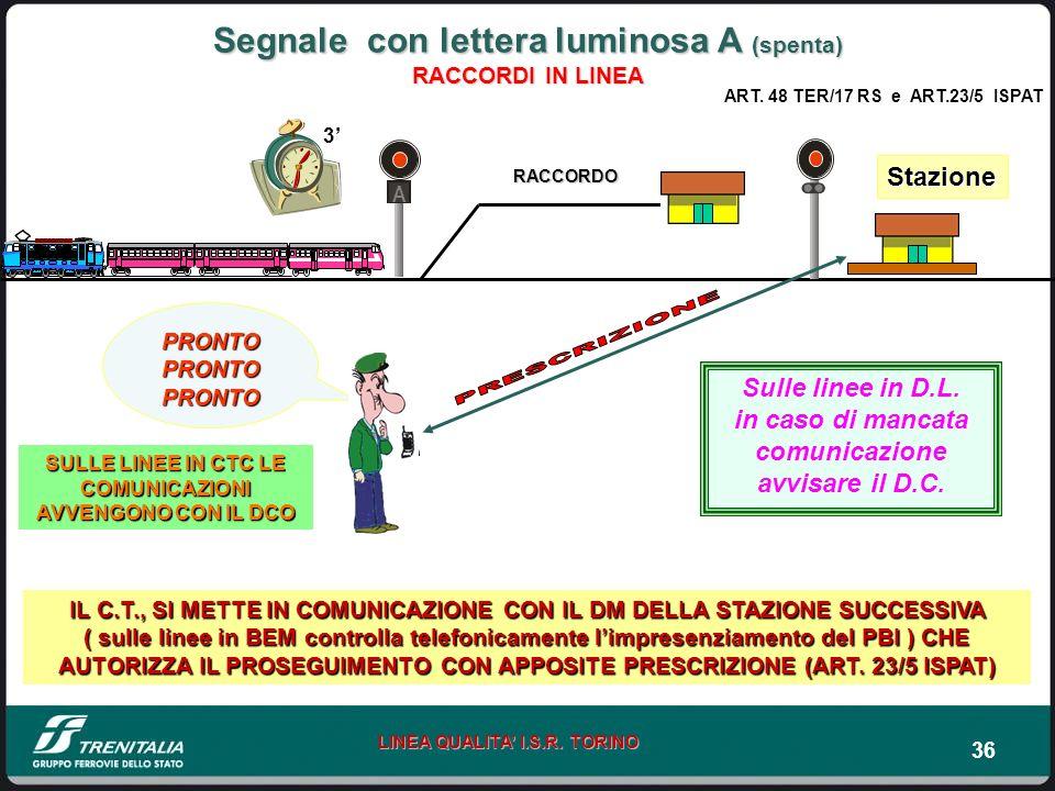 36 LINEA QUALITA I.S.R. TORINO A PRONTO PRONTO PRONTO Stazione Segnale con lettera luminosa A (spenta) RACCORDI IN LINEA IL C.T., SI METTE IN COMUNICA