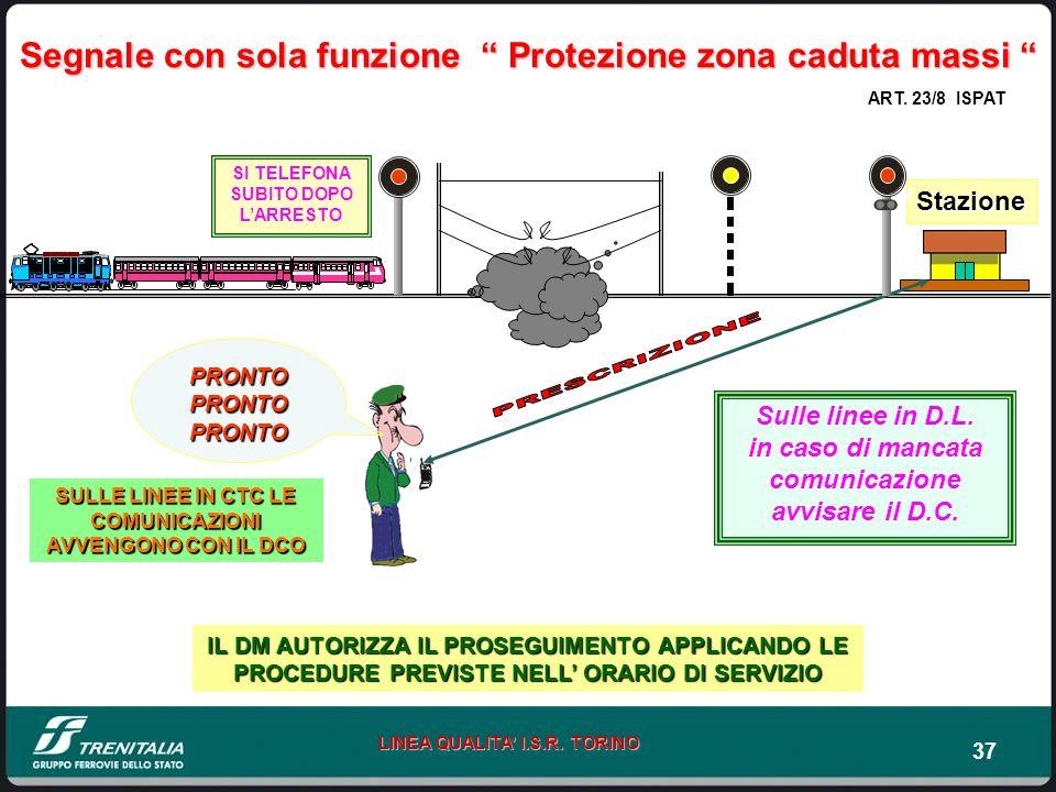 37 LINEA QUALITA I.S.R. TORINO Segnale con sola funzione Protezione zona caduta massi Segnale con sola funzione Protezione zona caduta massi PRONTO PR