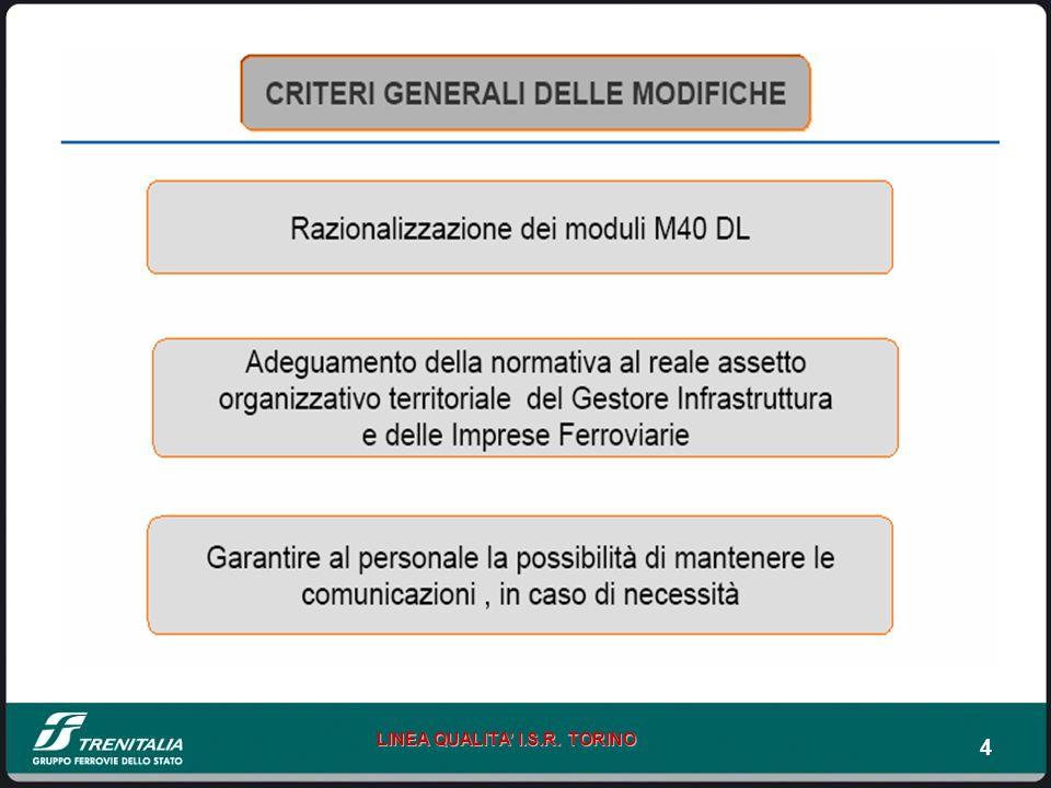 45 LINEA QUALITA I.S.R.TORINO ART. 37/10 ISTR. PER ESERCIZIO BLOCCO ELETTR.