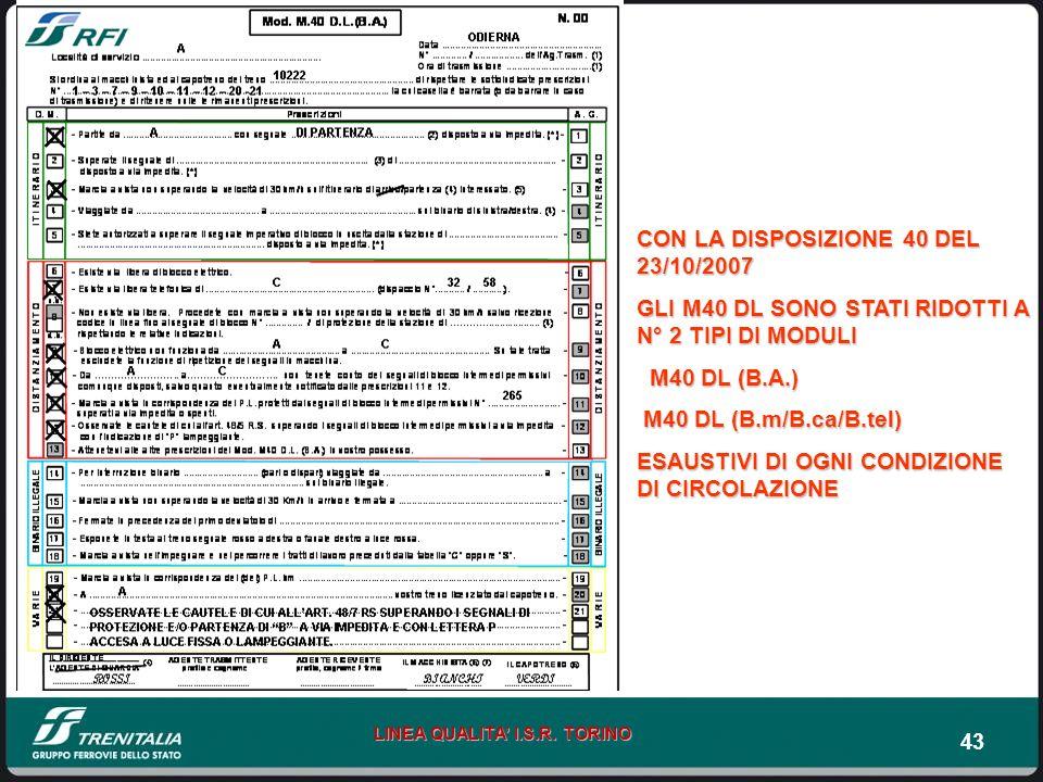 43 LINEA QUALITA I.S.R. TORINO CON LA DISPOSIZIONE 40 DEL 23/10/2007 GLI M40 DL SONO STATI RIDOTTI A N° 2 TIPI DI MODULI M40 DL (B.A.) M40 DL (B.A.) M
