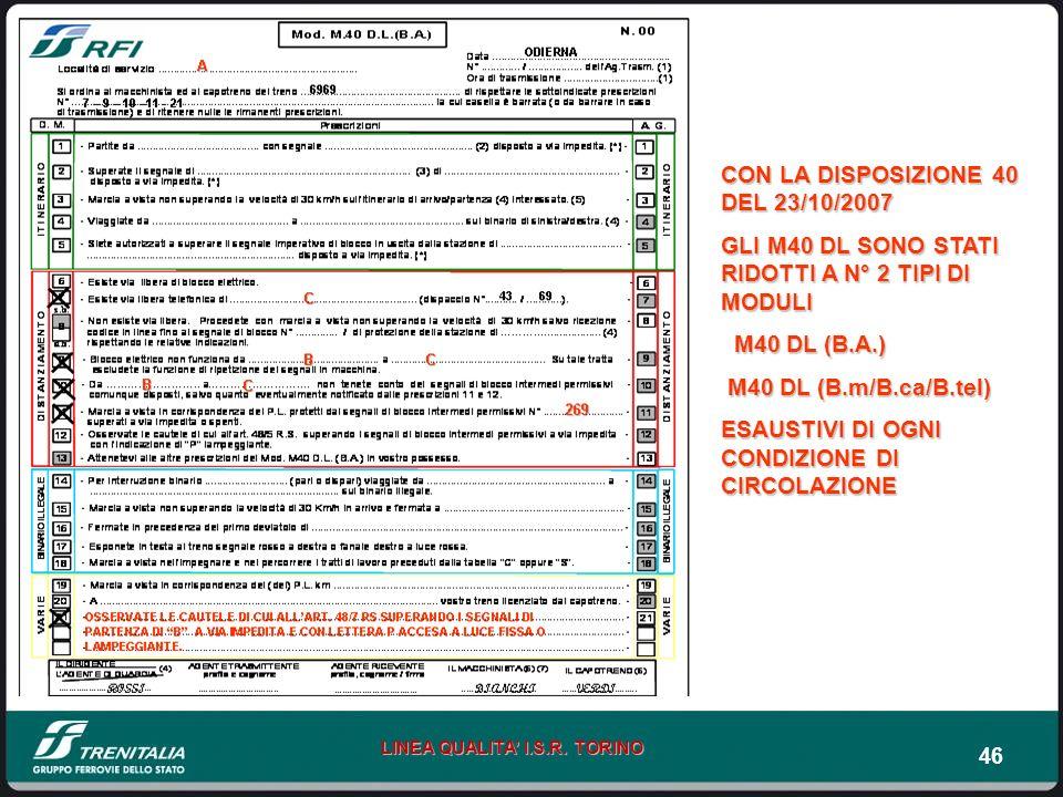 46 LINEA QUALITA I.S.R. TORINO CON LA DISPOSIZIONE 40 DEL 23/10/2007 GLI M40 DL SONO STATI RIDOTTI A N° 2 TIPI DI MODULI M40 DL (B.A.) M40 DL (B.A.) M