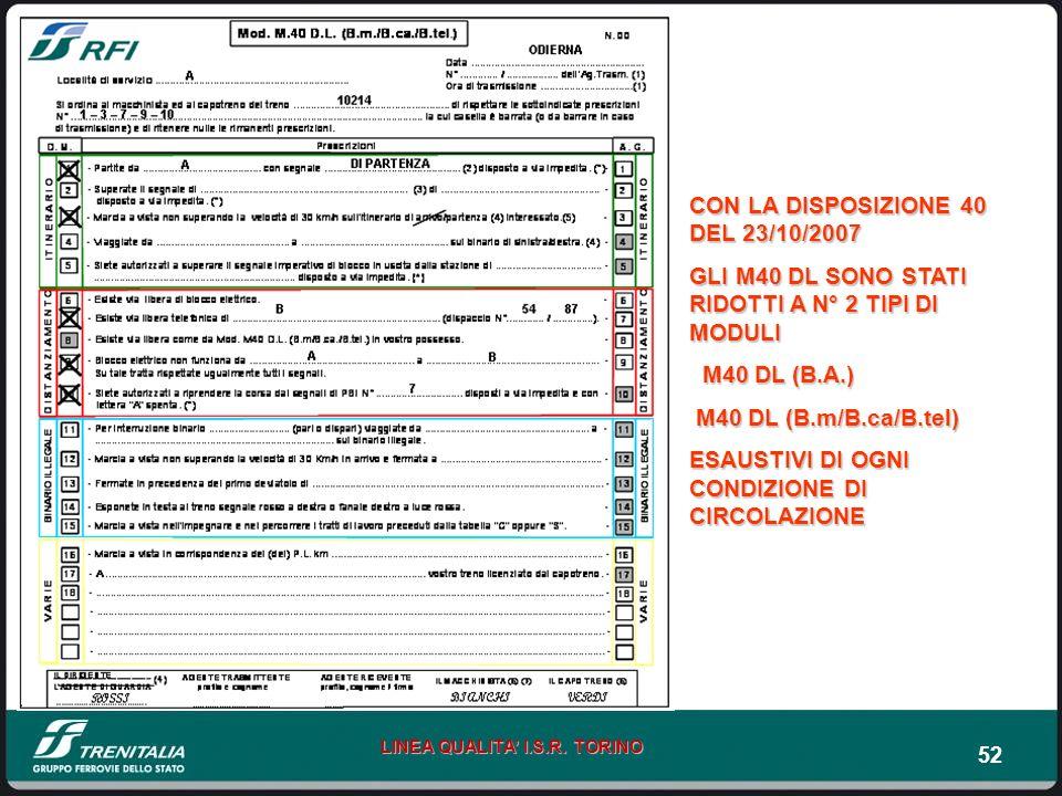 52 LINEA QUALITA I.S.R. TORINO CON LA DISPOSIZIONE 40 DEL 23/10/2007 GLI M40 DL SONO STATI RIDOTTI A N° 2 TIPI DI MODULI M40 DL (B.A.) M40 DL (B.A.) M