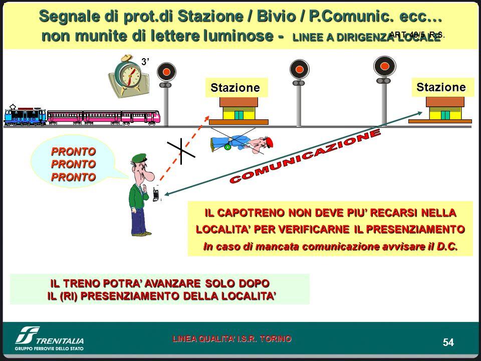 54 LINEA QUALITA I.S.R. TORINO Segnale di prot.di Stazione / Bivio / P.Comunic. ecc… non munite di lettere luminose - LINEE A DIRIGENZA LOCALE PRONTO