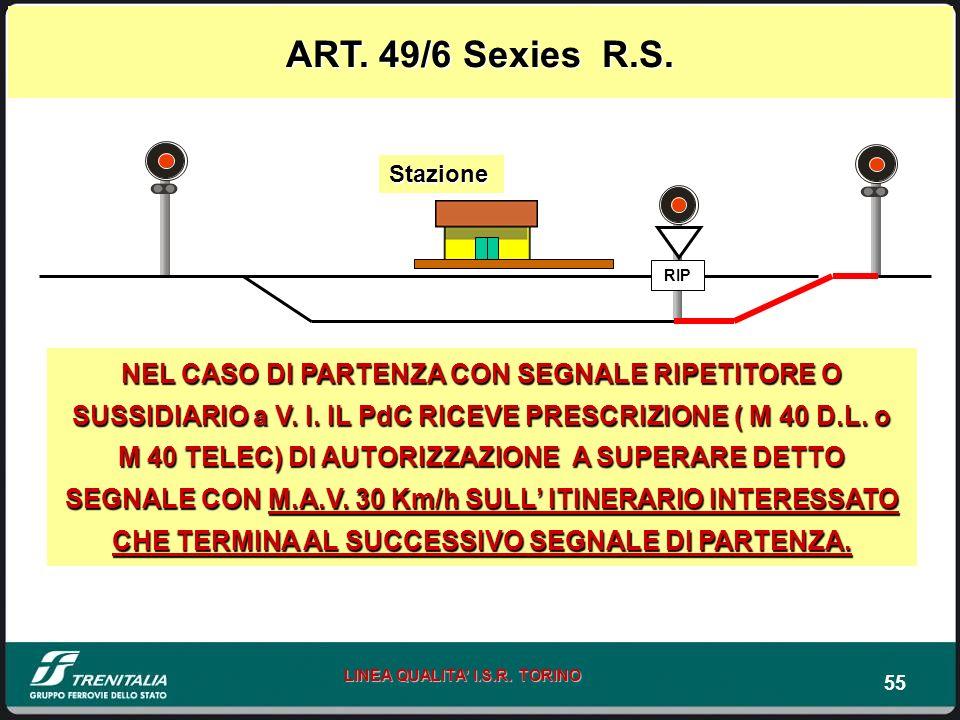 55 LINEA QUALITA I.S.R. TORINO ART. 49/6 Sexies R.S. NEL CASO DI PARTENZA CON SEGNALE RIPETITORE O SUSSIDIARIO a V. I. IL PdC RICEVE PRESCRIZIONE ( M