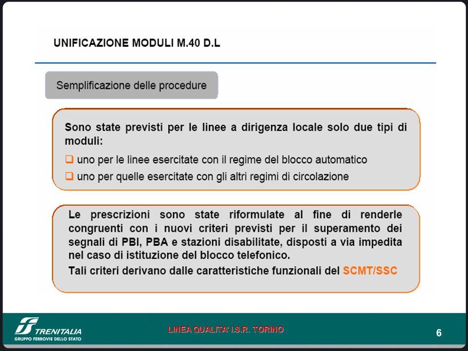 17 LINEA QUALITA I.S.R.TORINO DISPOSIZIONE 40/2007 – MODIFICHE ISPAT Nuovo M 40 D.L.