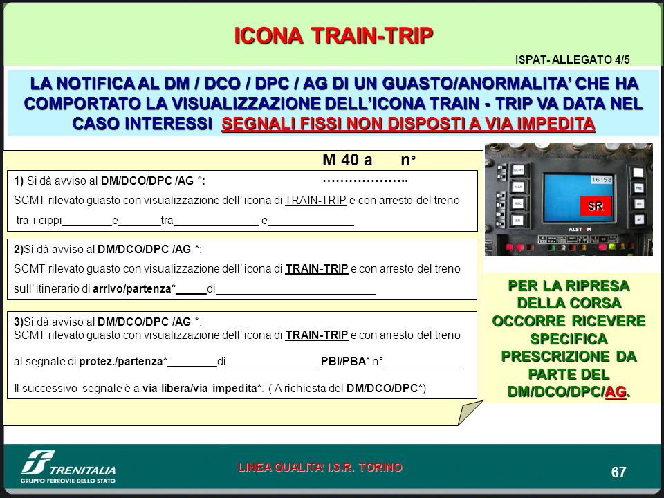 67 LINEA QUALITA I.S.R. TORINO PER LA RIPRESA DELLA CORSA OCCORRE RICEVERE SPECIFICA PRESCRIZIONE DA PARTE DEL DM/DCO/DPC/AG. LA NOTIFICA AL DM / DCO