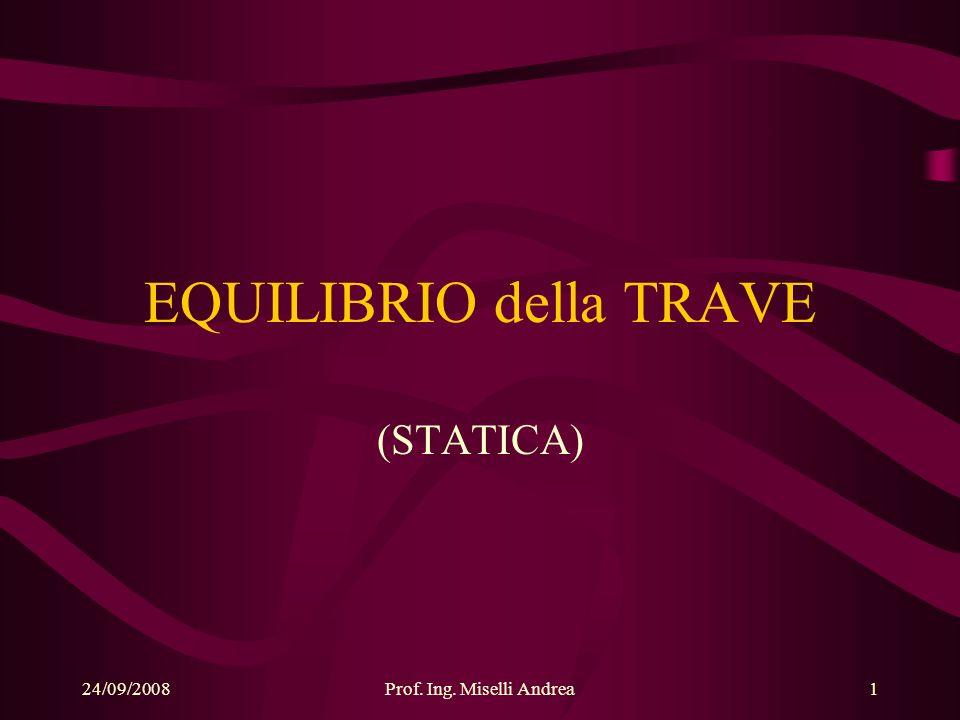 24/09/2008Prof. Ing. Miselli Andrea1 EQUILIBRIO della TRAVE (STATICA)
