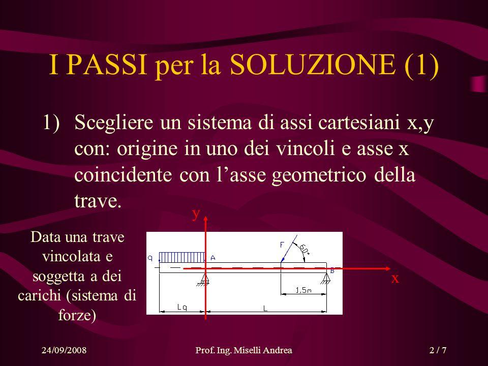 24/09/2008Prof. Ing. Miselli Andrea2 / 7 I PASSI per la SOLUZIONE (1) 1)Scegliere un sistema di assi cartesiani x,y con: origine in uno dei vincoli e
