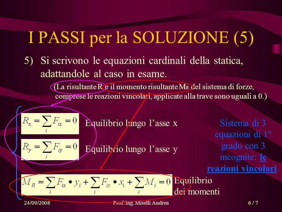 24/09/2008Prof. Ing. Miselli Andrea6 / 7 Equilibrio dei momenti y I PASSI per la SOLUZIONE (5) 5)Si scrivono le equazioni cardinali della statica, ada