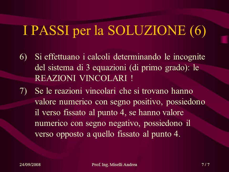 24/09/2008Prof. Ing. Miselli Andrea7 / 7 I PASSI per la SOLUZIONE (6) 6)Si effettuano i calcoli determinando le incognite del sistema di 3 equazioni (