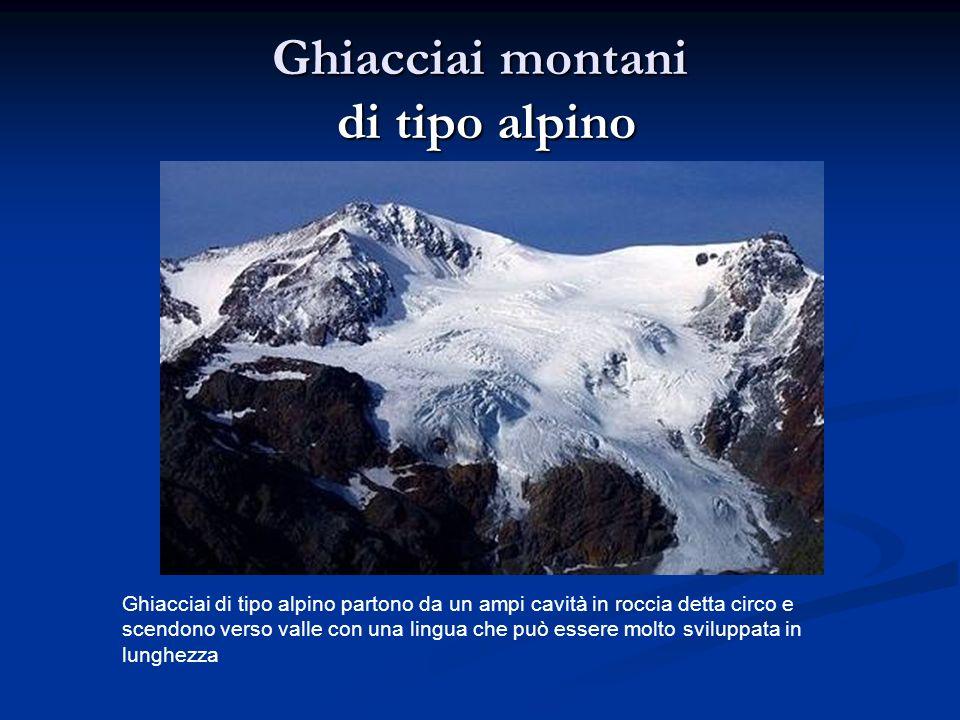 Ghiacciai montani di tipo alpino Ghiacciai di tipo alpino partono da un ampi cavità in roccia detta circo e scendono verso valle con una lingua che può essere molto sviluppata in lunghezza