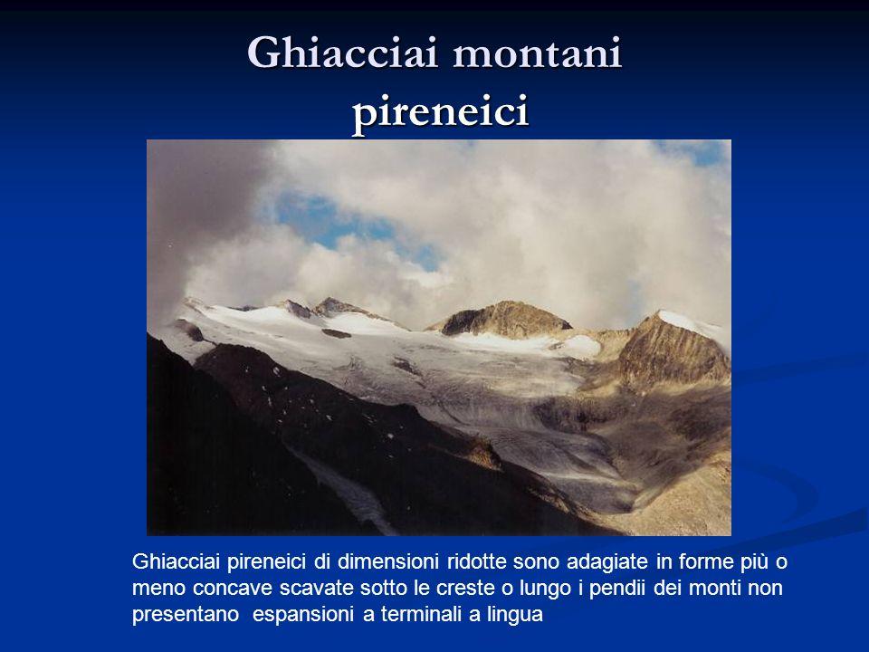 Ghiacciai pireneici di dimensioni ridotte sono adagiate in forme più o meno concave scavate sotto le creste o lungo i pendii dei monti non presentano