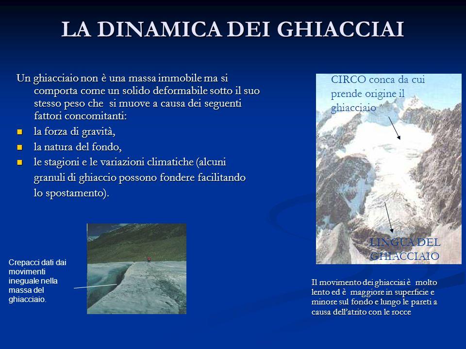 LA DINAMICA DEI GHIACCIAI Un ghiacciaio non è una massa immobile ma si comporta come un solido deformabile sotto il suo stesso peso che si muove a cau