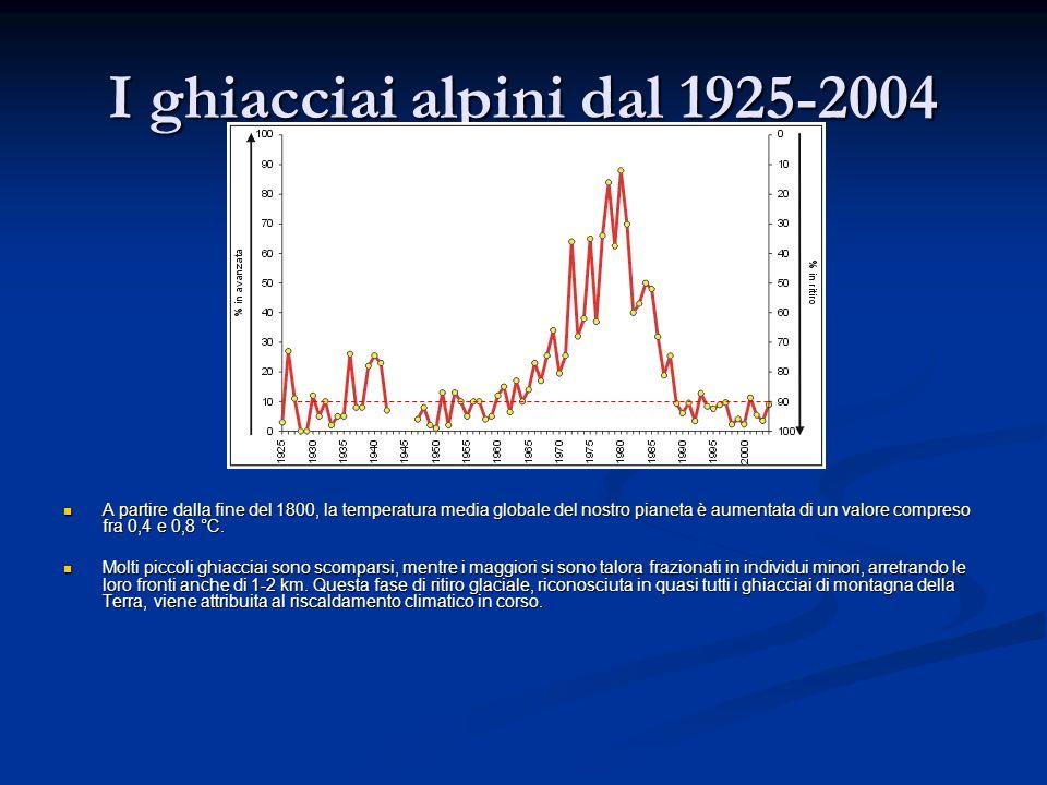 I ghiacciai alpini dal 1925-2004 A partire dalla fine del 1800, la temperatura media globale del nostro pianeta è aumentata di un valore compreso fra 0,4 e 0,8 °C.