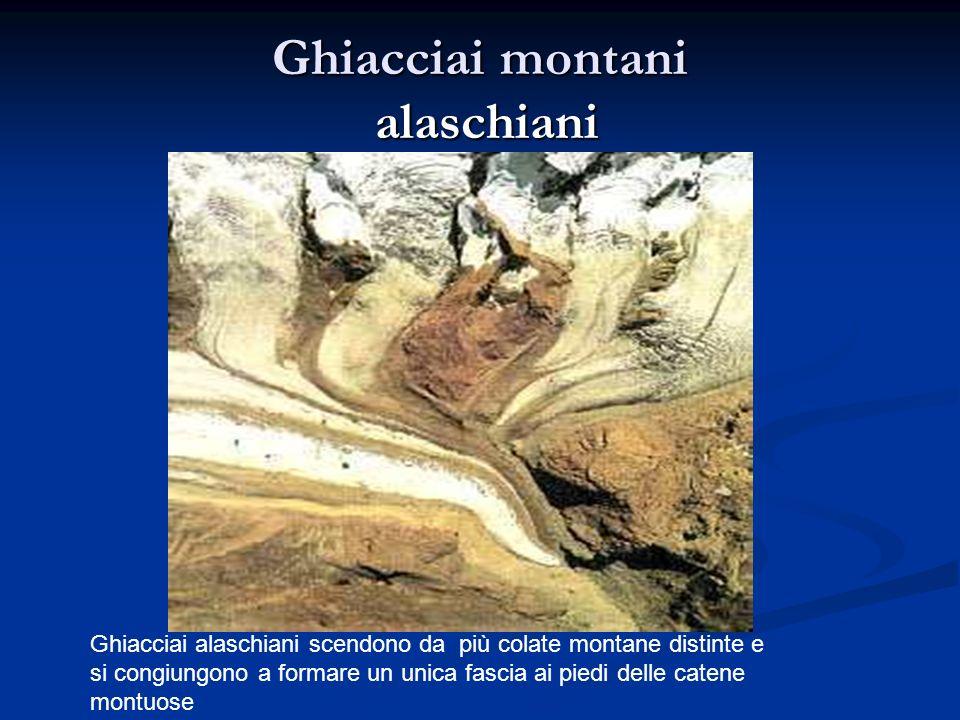 Ghiacciai alaschiani scendono da più colate montane distinte e si congiungono a formare un unica fascia ai piedi delle catene montuose Ghiacciai montani alaschiani