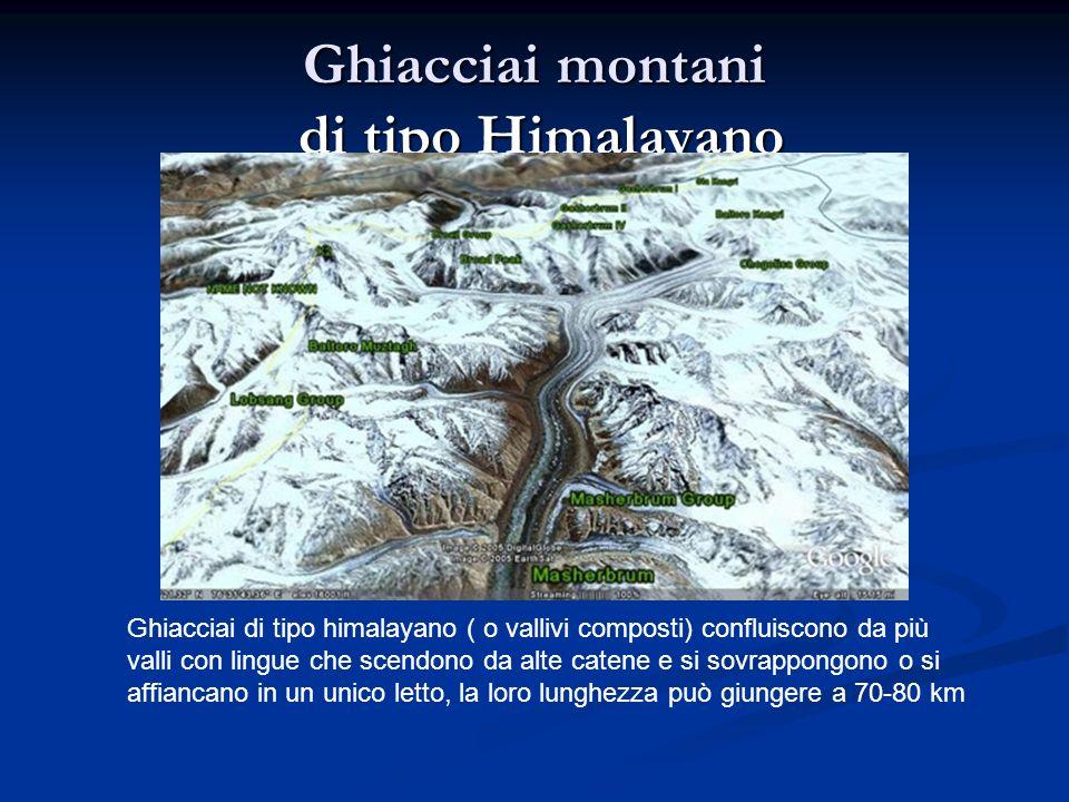 Ghiacciai montani di tipo Himalayano Ghiacciai di tipo himalayano ( o vallivi composti) confluiscono da più valli con lingue che scendono da alte catene e si sovrappongono o si affiancano in un unico letto, la loro lunghezza può giungere a 70-80 km