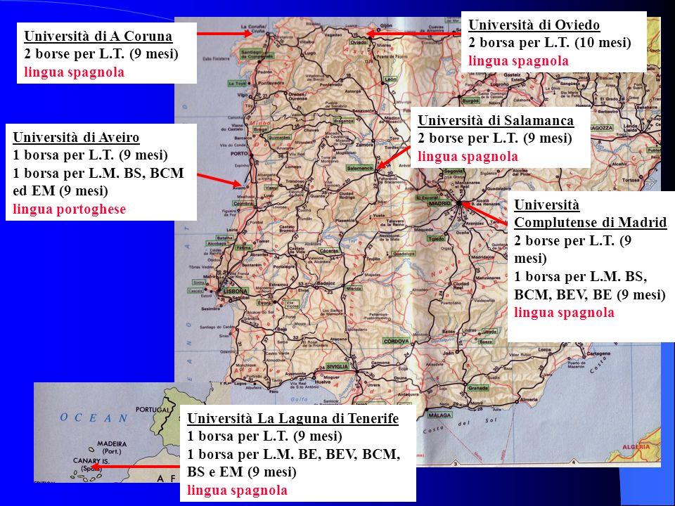 Università di Oviedo 2 borsa per L.T. (10 mesi) lingua spagnola Università di A Coruna 2 borse per L.T. (9 mesi) lingua spagnola Università Complutens