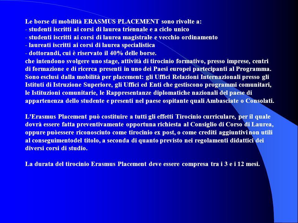 Le borse di mobilità ERASMUS PLACEMENT sono rivolte a: - studenti iscritti ai corsi di laurea triennale e a ciclo unico - studenti iscritti ai corsi d
