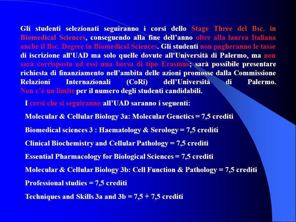 Gli studenti selezionati seguiranno i corsi dello Stage Three del Bsc. in Biomedical Sciences, conseguendo alla fine dellanno oltre alla laurea Italia
