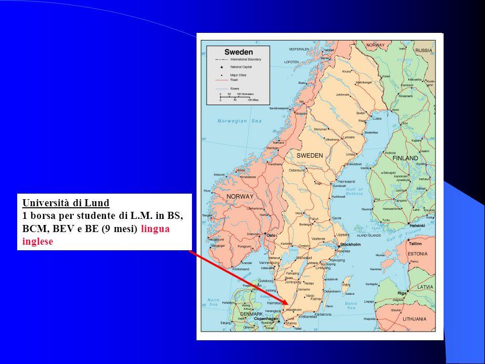 Università di Lund 1 borsa per studente di L.M. in BS, BCM, BEV e BE (9 mesi) lingua inglese