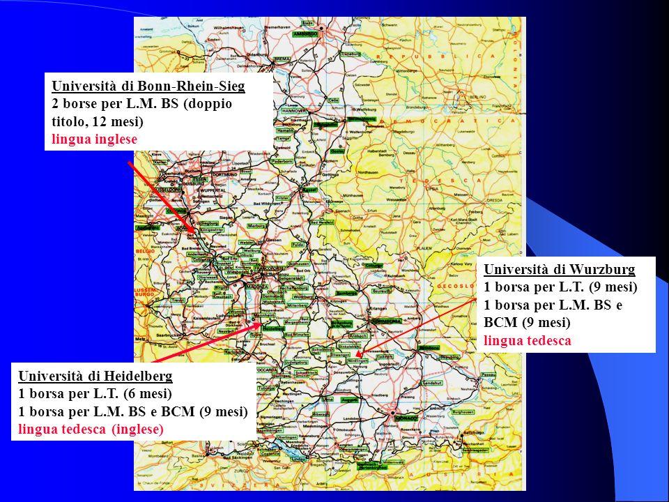 Università di Bonn-Rhein-Sieg 2 borse per L.M. BS (doppio titolo, 12 mesi) lingua inglese Università di Heidelberg 1 borsa per L.T. (6 mesi) 1 borsa p