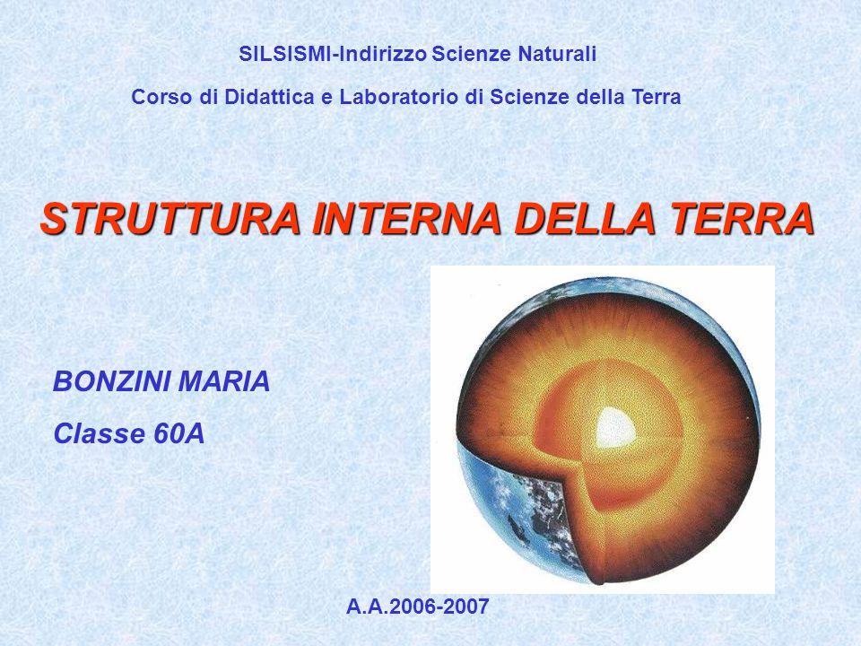 Corso di Didattica e Laboratorio di Scienze della Terra STRUTTURA INTERNA DELLA TERRA BONZINI MARIA Classe 60A A.A.2006-2007 SILSISMI-Indirizzo Scienz