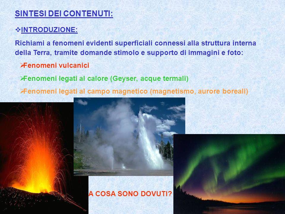 SINTESI DEI CONTENUTI: INTRODUZIONE: Richiami a fenomeni evidenti superficiali connessi alla struttura interna della Terra, tramite domande stimolo e