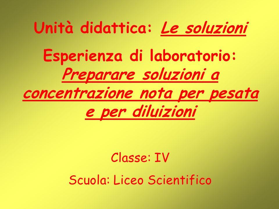 Unità didattica: Le soluzioni Esperienza di laboratorio: Preparare soluzioni a concentrazione nota per pesata e per diluizioni Classe: IV Scuola: Liceo Scientifico