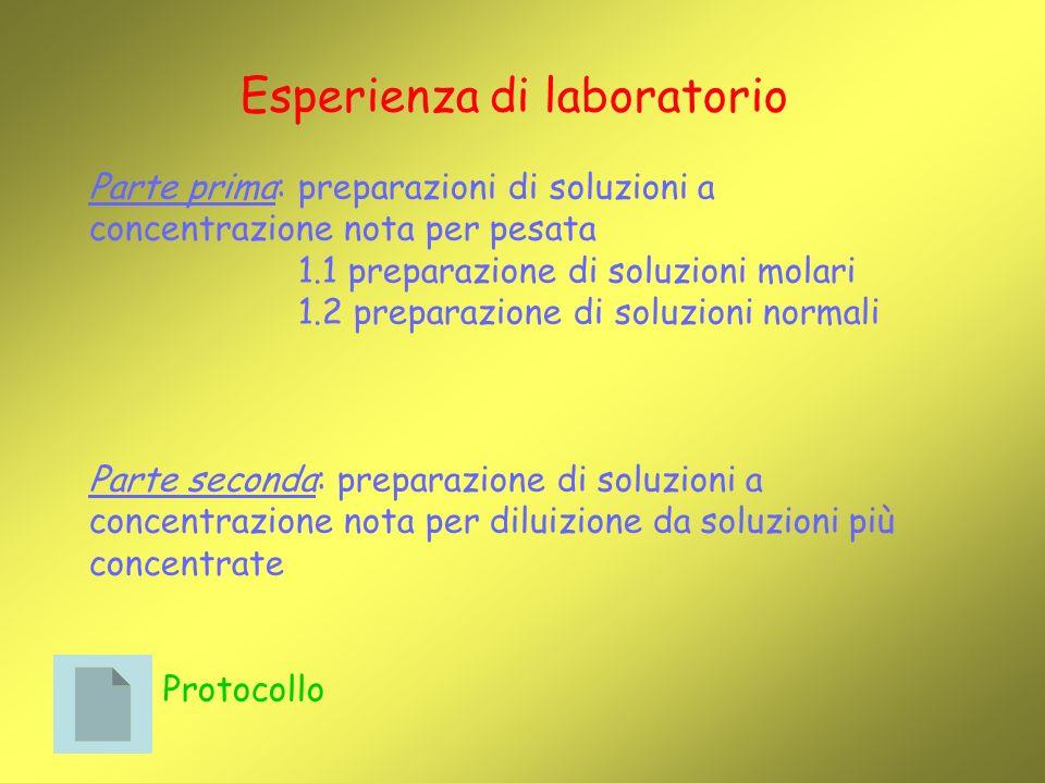 Esperienza di laboratorio Parte prima: preparazioni di soluzioni a concentrazione nota per pesata 1.1 preparazione di soluzioni molari 1.2 preparazione di soluzioni normali Parte seconda: preparazione di soluzioni a concentrazione nota per diluizione da soluzioni più concentrate Protocollo