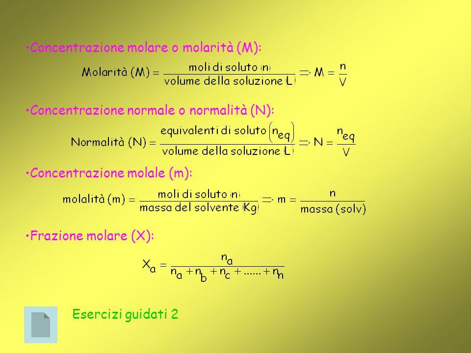 Concentrazione molare o molarità (M): Concentrazione normale o normalità (N): Concentrazione molale (m): Frazione molare (X): Esercizi guidati 2