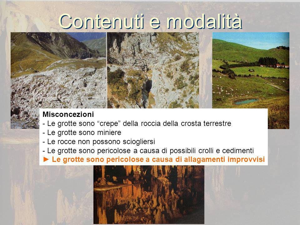 Contenuti e modalità Misconcezioni - Le grotte sono crepe della roccia della crosta terrestre - Le grotte sono miniere - Le rocce non possono sciogliersi - Le grotte sono pericolose a causa di possibili crolli e cedimenti Le grotte sono pericolose a causa di allagamenti improvvisi