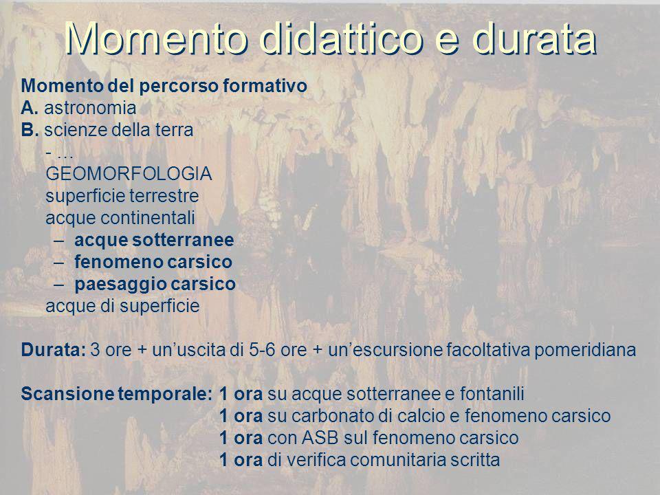 Prerequisiti e obiettivi Prerequisiti Equilibri chimici di dissociazione poliprotica Concetto di minerale come reticolo di ioni Cosè un processo sedimentario Cosè unargilla e cosè una roccia calcarea Obiettivi (didattici) avere unimmagine rappresentativa corretta dellacqua dei sottosuoli conoscere gli equilibri gravitazionali che la regolano comprendere la differenza tra porosità e permeabilità conoscere la storia e il paesaggio dei fontanili conoscere il fenomeno del deposito di carbonato di calcio conoscere il fenomeno della risolubilizzazione del carbonato di calcio conoscere la genesi del fenomeno carsico in relazione al territorio bresciano (formativi) Maturare coscienza e responsabilità sulla risorsa idrica potabile Acquisire coscienza sul valore naturalistico dei fontanili e sul valore monumentale delle grotte carsiche Formarsi nella capacità di osservazione e di rielaborazione scritta di quanto osservato