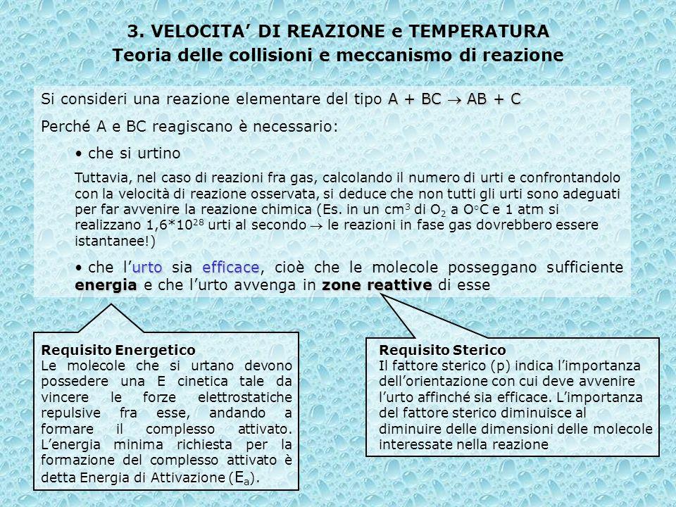 3. VELOCITA DI REAZIONE e TEMPERATURA Teoria delle collisioni e meccanismo di reazione A + BC AB + C Si consideri una reazione elementare del tipo A +
