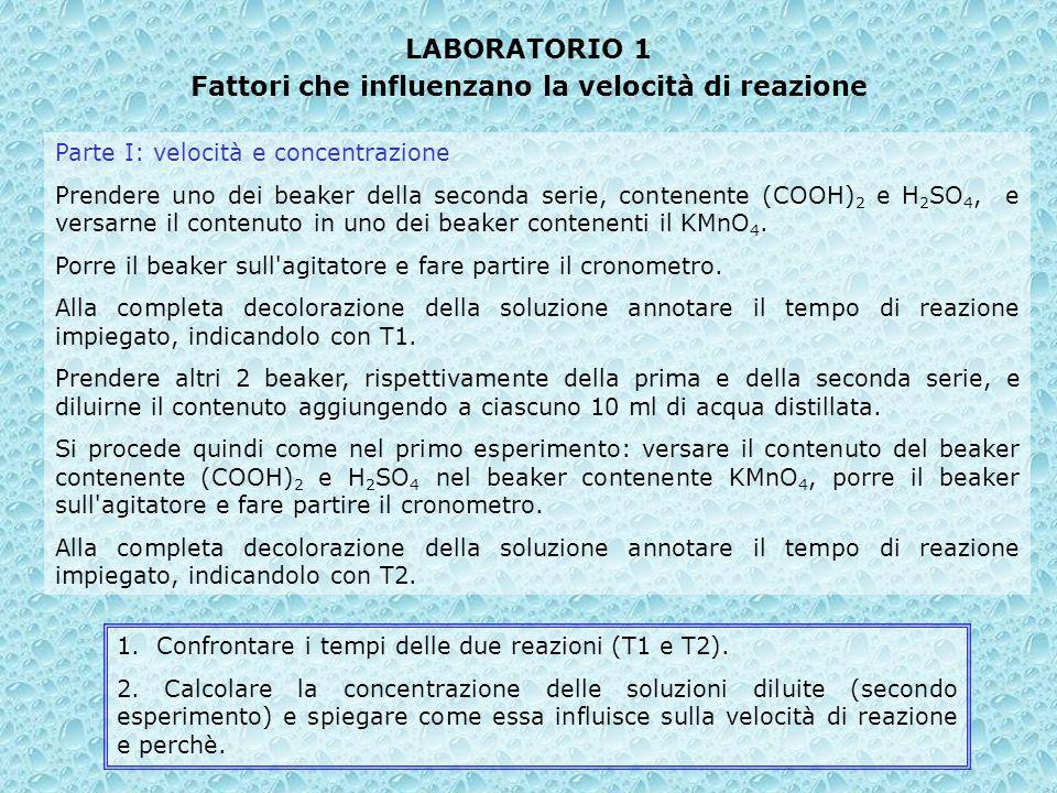 LABORATORIO 1 Fattori che influenzano la velocità di reazione Parte I: velocità e concentrazione Prendere uno dei beaker della seconda serie, contenen