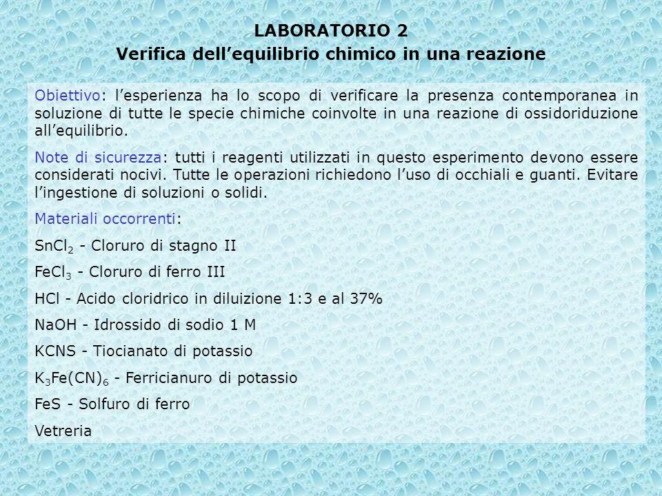 LABORATORIO 2 Verifica dellequilibrio chimico in una reazione Obiettivo: lesperienza ha lo scopo di verificare la presenza contemporanea in soluzione