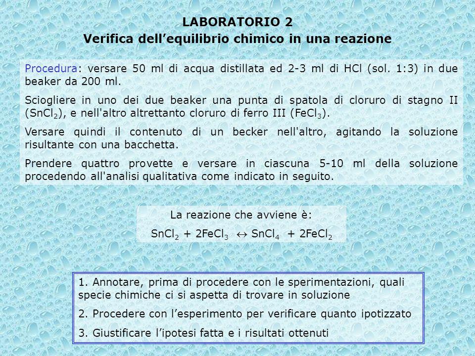 LABORATORIO 2 Verifica dellequilibrio chimico in una reazione Procedura: versare 50 ml di acqua distillata ed 2-3 ml di HCl (sol. 1:3) in due beaker d