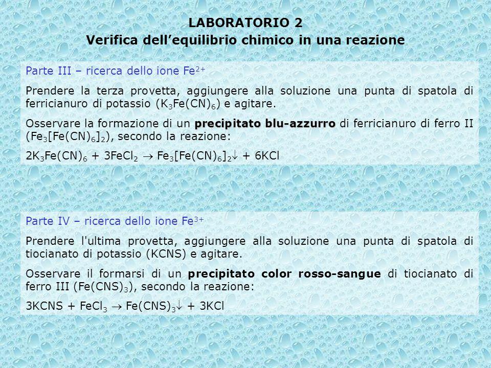 LABORATORIO 2 Verifica dellequilibrio chimico in una reazione Parte III – ricerca dello ione Fe 2+ Prendere la terza provetta, aggiungere alla soluzio