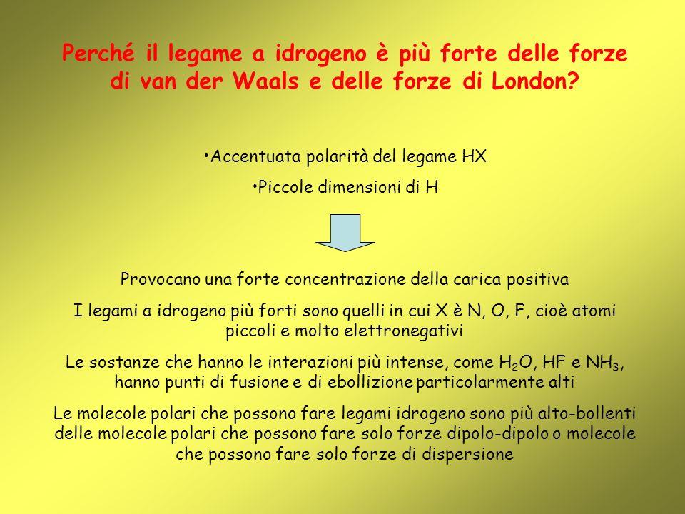 Perché il legame a idrogeno è più forte delle forze di van der Waals e delle forze di London? Accentuata polarità del legame HX Piccole dimensioni di