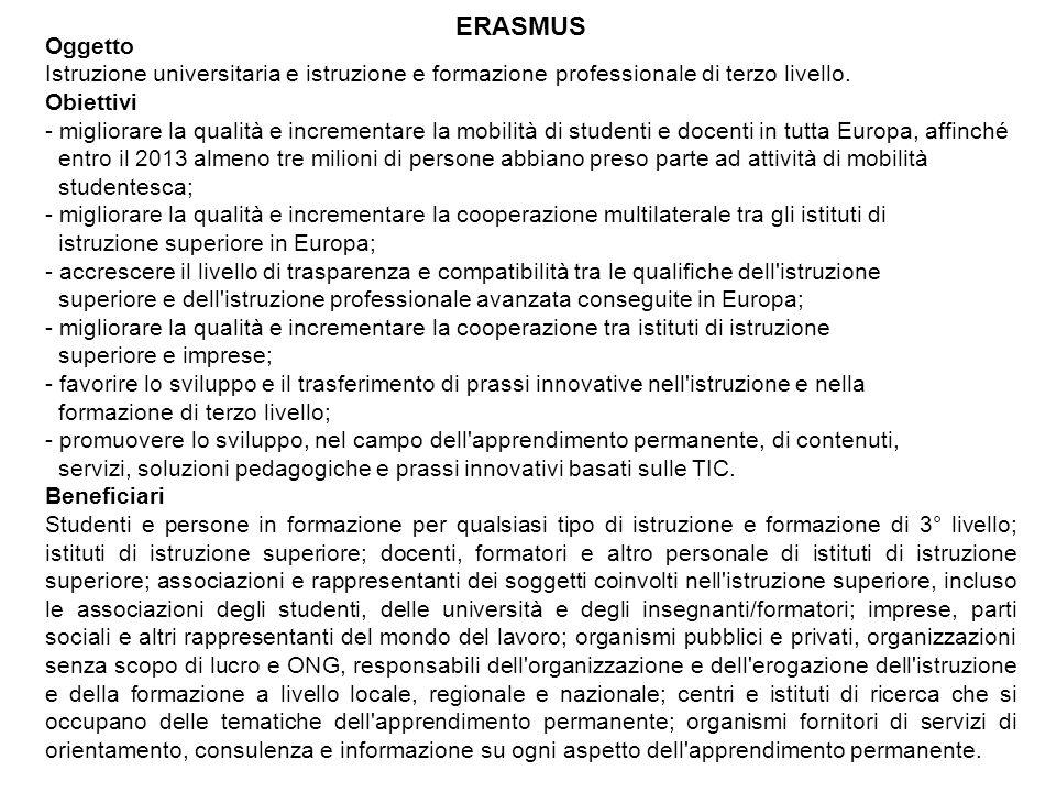 Oggetto istruzione e formazione professionale in generale, escluso quelle di 3° livello.