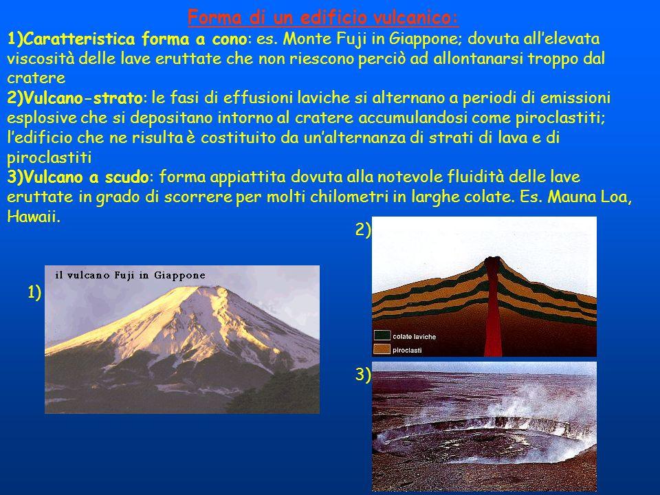 Forma di un edificio vulcanico: 1)Caratteristica forma a cono: es. Monte Fuji in Giappone; dovuta allelevata viscosità delle lave eruttate che non rie