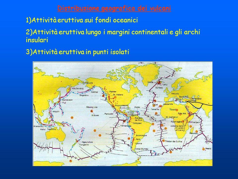 Distribuzione geografica dei vulcani 1)Attività eruttiva sui fondi oceanici 2)Attività eruttiva lungo i margini continentali e gli archi insulari 3)At