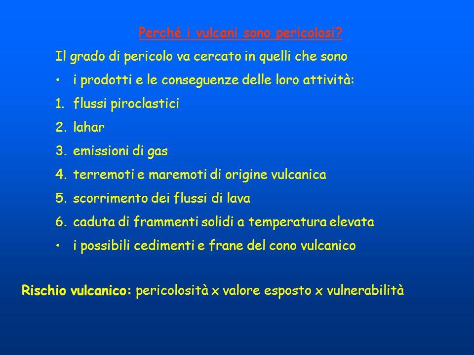Perché i vulcani sono pericolosi? Il grado di pericolo va cercato in quelli che sono i prodotti e le conseguenze delle loro attività: 1.flussi pirocla
