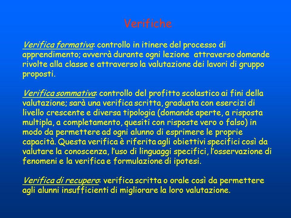 Verifiche Verifica formativa: controllo in itinere del processo di apprendimento; avverrà durante ogni lezione attraverso domande rivolte alla classe