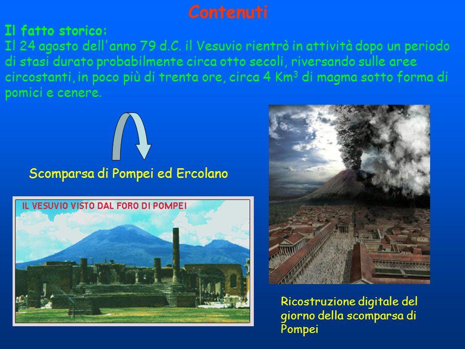 Contenuti Il fatto storico: Il 24 agosto dell'anno 79 d.C. il Vesuvio rientrò in attività dopo un periodo di stasi durato probabilmente circa otto sec