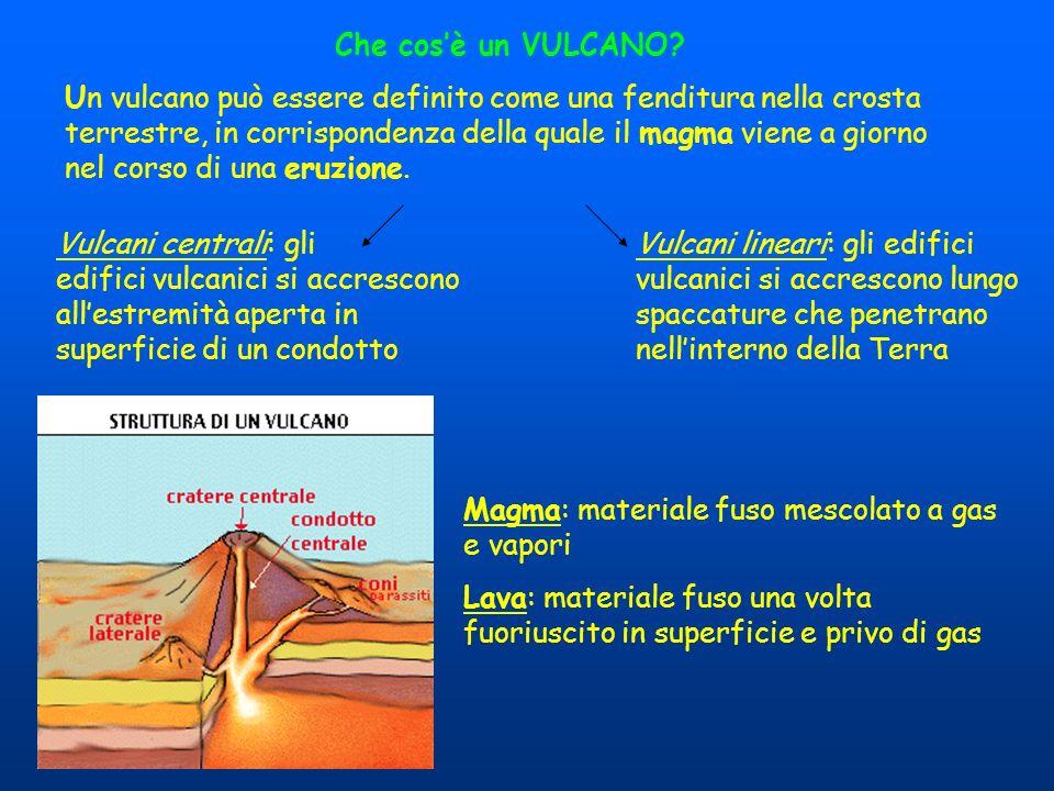 Che cosè un VULCANO? Un vulcano può essere definito come una fenditura nella crosta terrestre, in corrispondenza della quale il magma viene a giorno n